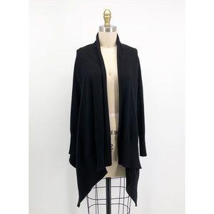 ZARA Knit Black Shawl Collar Asymmetrical Cardigan